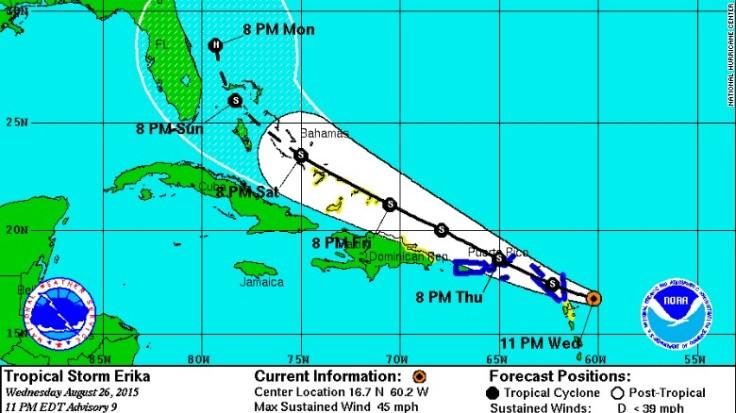 Source: CNN - http://www.cnn.com/2015/08/26/us/tropical-weather-erika/